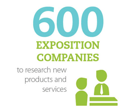 600 exposition companies to research new products and services
